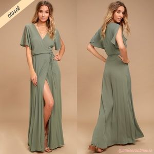 [Lulu's] Much Obliged Washed Green Wrap Maxi Dress
